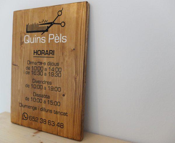 cartel horario madera