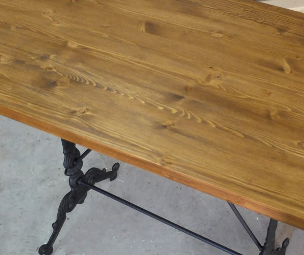 mesa madera hierro forjado